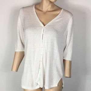 J. Jill Linen Blend White Cardigan Sweater Size M